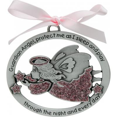 Pink Epoxy Angel Crib Medal W/Pink Ribbon