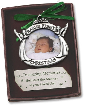 Baby's First Christmas Photo Ornament W/Green Ribbon Gift Boxed W/Card