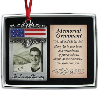Patriotic Memorial Photo Ornament with Crystal & Red Ribbon