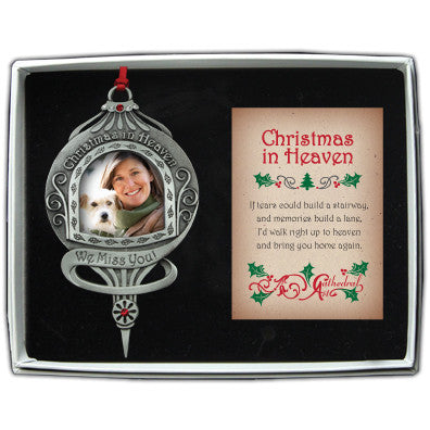 Christmas In Heaven Photo Ornament W/Siam & Crystals On Red Ribbn