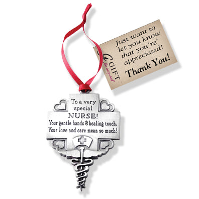 Nurse Message Ornament with Red Ribbon & Hang Tag
