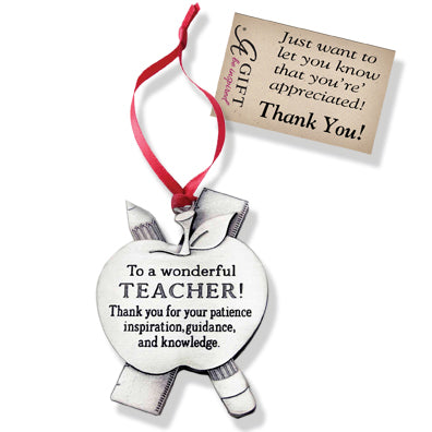 Teacher Message Ornament with Red Ribbon & Hang Tag