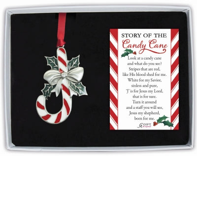 Candy Cane Ornament with a Red Ribbon