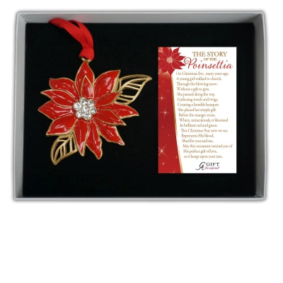Gold Poinsettia Ornament with Red Epoxy