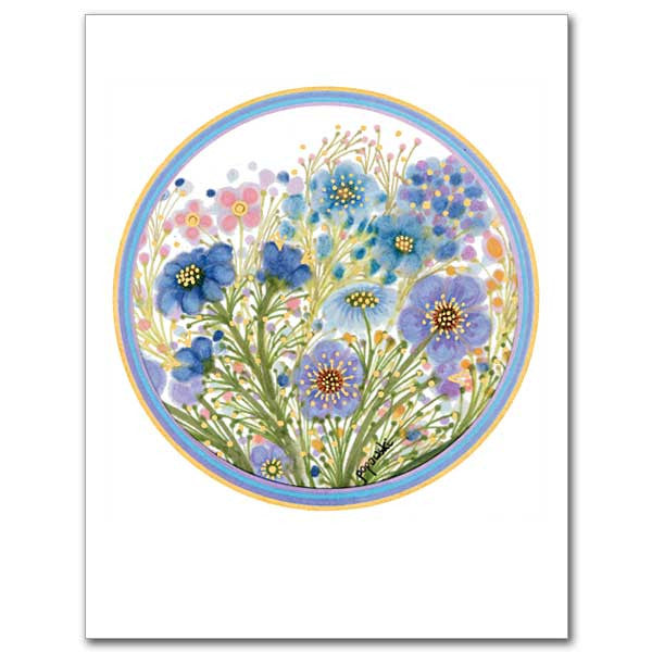 Circle Of Flowers Get Well Card