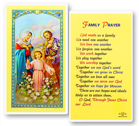 God Made Us A Family Holy Card