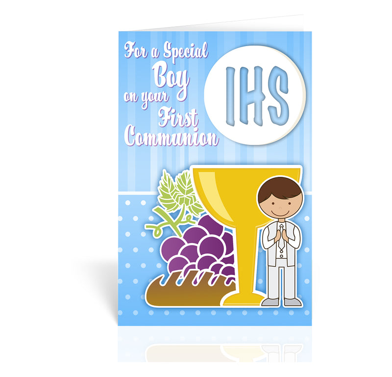 First Communion Greeting Card With Chalice Grapes And Bread - Boy