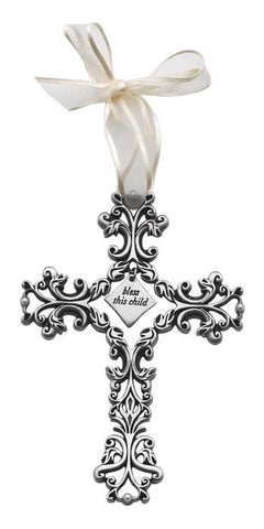 Bless This Child Filigree White Ribbon & Pearls