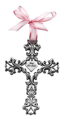 Bless This Child Filigree Cross Pink Ribbon & Pearls