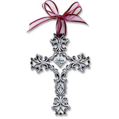 Confirmation 5 In Filigree Cross W/Burgundy Ribbon & Ruby Crystals Gift Boxed