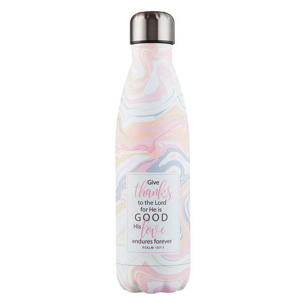 Give Thanks in Marble Pattern - Psalm 107:1 Stainless Steel Water Bottle