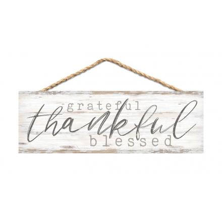 Grateful Thankful Blessed - Hanging Sign