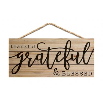 Thankful, Grateful, Blessed - Hanging Sign