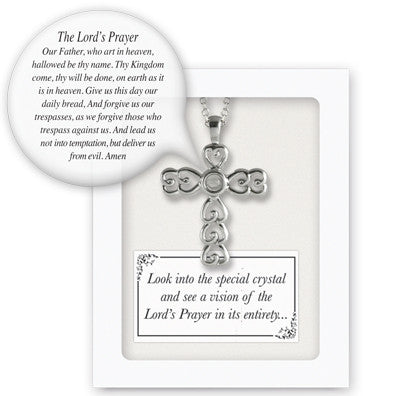 Silver Vision Cross W/Lord's Prayer Pendant On 18 In Chain Gift Boxed W/Card