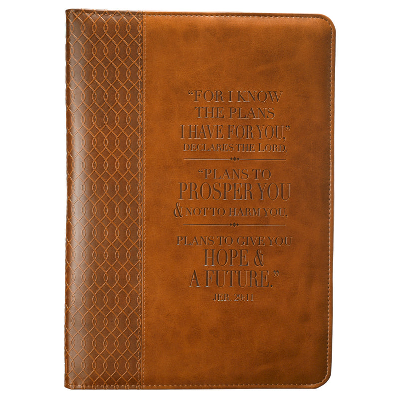 Luxleather Journal In Tan: I Know The Plans - Jeremiah 29:11