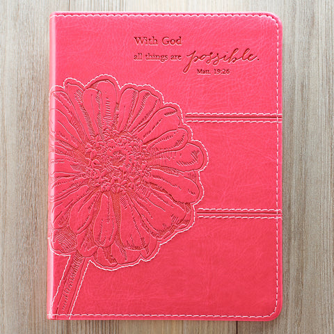Luxleather Journal In Pink: All Things Are Possible - Matthew 19:26