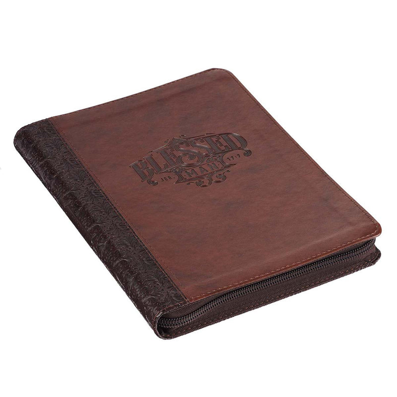Blessed Man Brown Faux Leather Classic Journal with Zipped Closure - Jeremiah 17:7