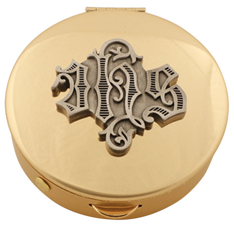 Pyx, Brass w/ IHS medallion, 25 host cap.