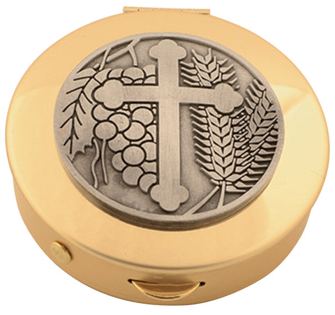 Pyx, Brass w/ Cross medallion, 8 host cap.