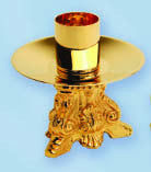 Altar Candlestick, Gold Plated, 3 1/4'' tall, each