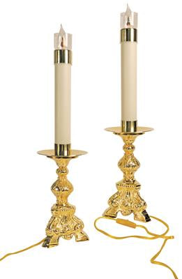 Altar Candlestick, Gold Plated, 10 3/4'' tall, each, ELECTRIFIED