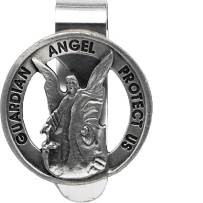 Round Guardian Angel Protect Us Visor Clip Carded
