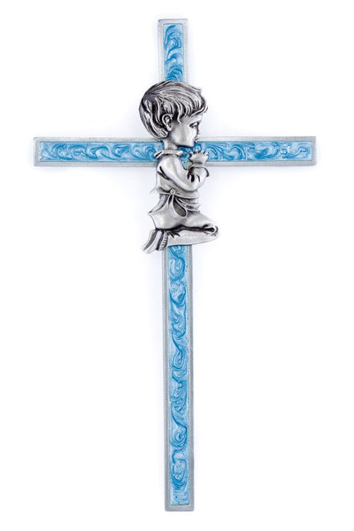 "6"" Blue Epoxy Wall Cross Baby Boy"