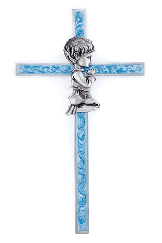 "6"" Blue Epoxy Wall Cross with Baby Boy Image"