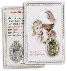 Communion Girl Holy Card with Medal