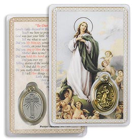 Assumption Holy Card with Medal