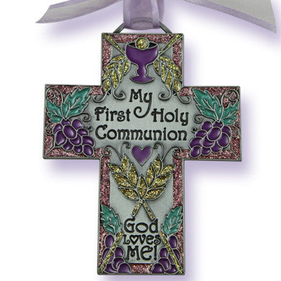 "4 1/2"" First Communion Message Wall Cross W/Ribbon Boxed"
