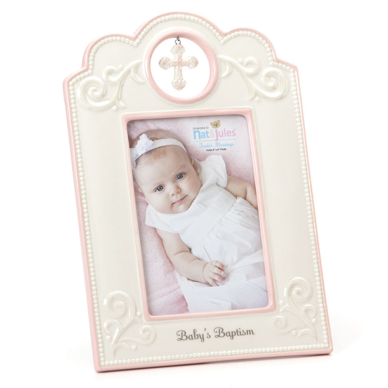 "TB Pink Baby's Baptism Frame - 4"" x 6"""