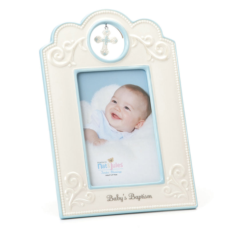 "TB Blue Baby's Baptism Frame - 4"" x 6"""