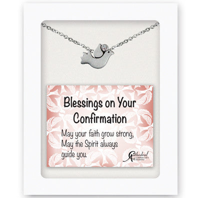 Tiny Confirmation Dove Pendant W/Crystal On 16 In Chain