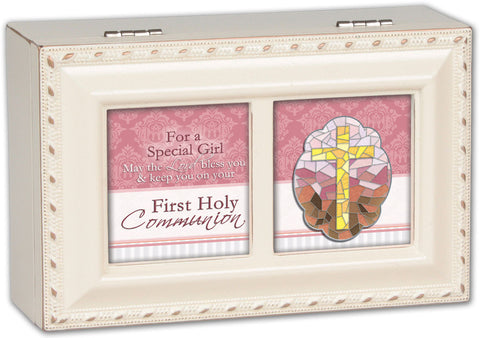 First Communion White Keepsake Music Box - Girl
