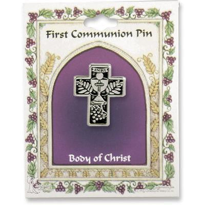 Antique Silver Communion Cross Lapel Pin Carded