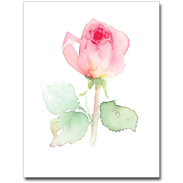 Pink Rose Petite Note Floral Water Colors
