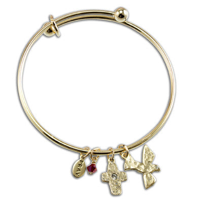 Gold Cross & Dove Confirmation Bangle
