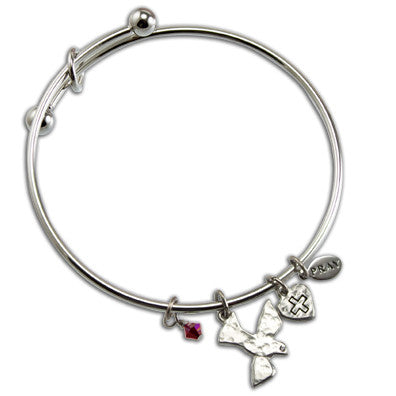 Silver Dove & Heart Confirmation Bangle