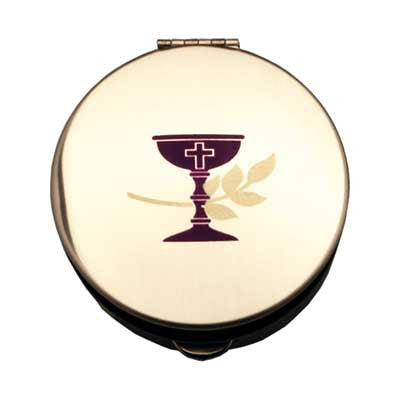 Size 2 Communion Gold Stamped Pyx W/Screened Chalice Individually Bagged