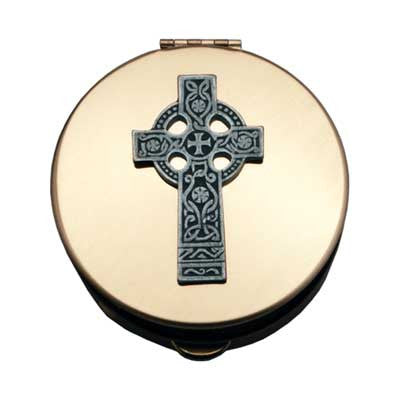 Size 1 Celtic Cross Gold Stamped Pyx W/Pewter Motif