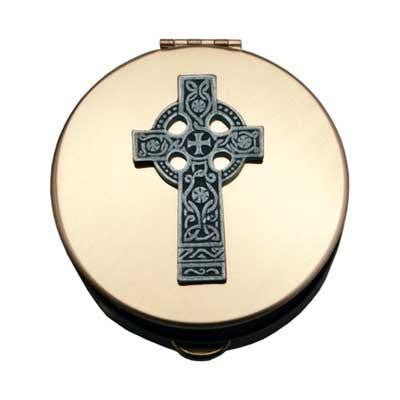 Size 2 Celtic Cross Gold Stamped Pyx W/Pewter Motif