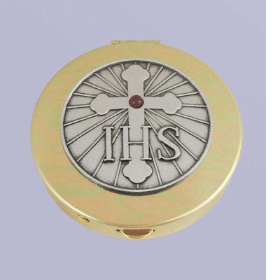 Size 1 IHS & Cross Gold Stamped Pyx/Pewter Motif/Red Stone