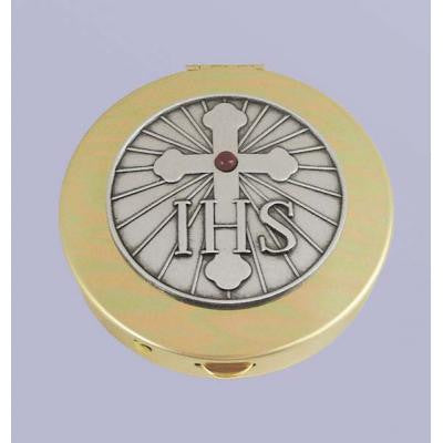 Size 2 IHS & Cross Gold Stamped Pyx/Pewter Motif/Red Stone