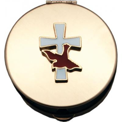 Size 1 Epoxy Filled Cross/Dove Gold Stamped Pyx