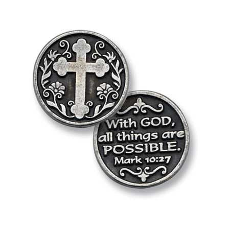Cross/With God All Things Pocket Token