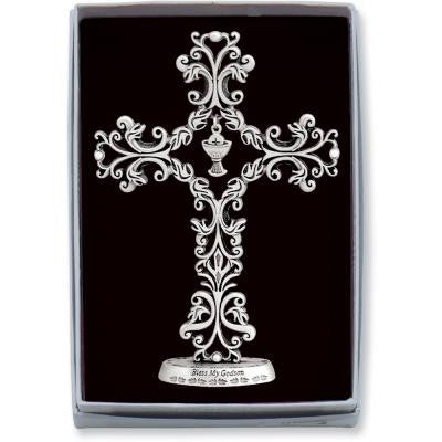 5 In Communion Bless My Godson Filigree Standing Cross Gift Boxed