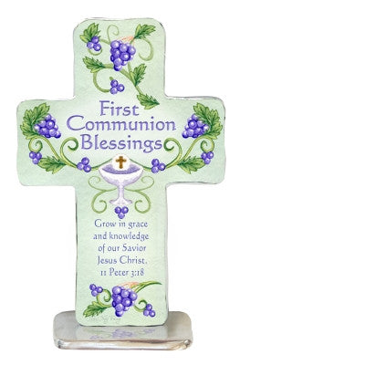 First Communion Blessings Standing Cross 4""