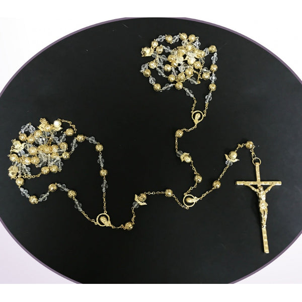 Rosary Lasso Crystal Beads and Gold Angels