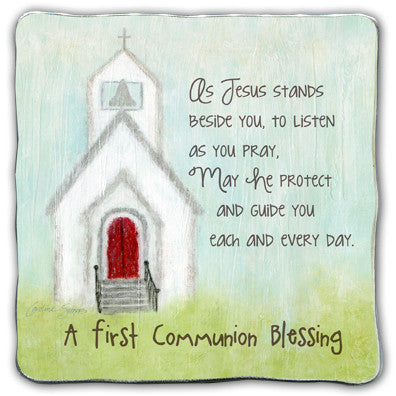 First Communion Blessing Square Plaque Tissue Wrapped & Boxed